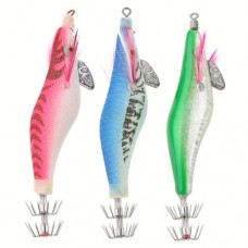 2.0# Wood Fishing Lures Cloth Wrapped Shrimp Shaped With Squid Hook Color Random