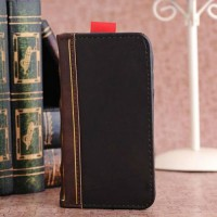 Antique Leather Book Case Cover for iPhone 5 - Black