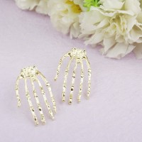 Skeleton Hand Shaped Metal Ear Plug A Pair