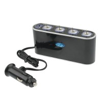 WF-0307  In-Car USB Four Sockets Charger with Switches  Black