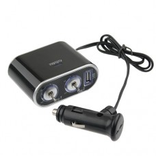WF-0305  In-Car USB Twin Sockets Charger with Switches  Black