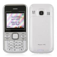 Mini C501 Dual Band Phone Dual SIM Card FM Bluetooth Camera 1.8 Inch- White