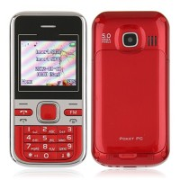 Mini C501 Dual Band Phone Dual SIM Card FM Bluetooth Camera 1.8 Inch- Red