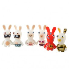 6pcs Cute Funny 3.5'' Bunny Rabbit PVC Toy Set