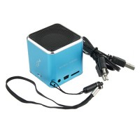 Mini Cube Portable Digital Speaker TF Card Slot Blue