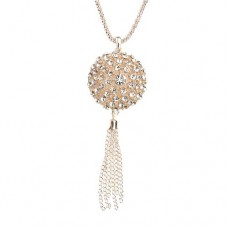 Fashion Rhinestone Decor Hollow Ball Tassels Necklace Silver