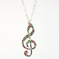Fashion Colorful Rhinestone Decor Note Pendant Necklace