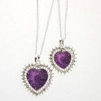 Fashion Rhinestone Decor Purple Dual Hearts Necklace