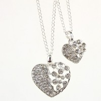 Fashion Rhinestone Decor Dual Hearts Necklace