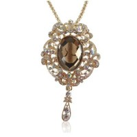 Fashion Rhinestone Oval Pendant Necklace Jewelry