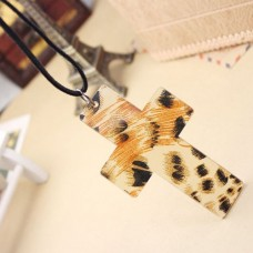 Fashion Leopard Cross Pendant Necklace Jewelry