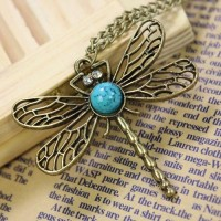Fashion Dragonfly Pendant Sweater Necklace
