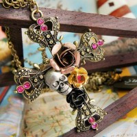 Fashion Flower Cross Pendant Sweater Necklace