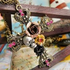 Fashion Flower Cross Pendant Sweater Necklace