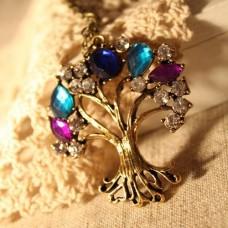 Fashion Crystal Decor Tree Pendant Sweater Necklace