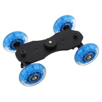 Blue TableTop Compact Dolly Kit Skater Wheel Camera Truck for Video DSLR
