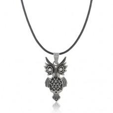 Owl Pendant Rhinestone Decor Necklace