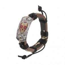 Cool Skull Pattern Cowhide Bracelet