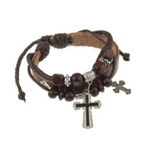 Cool Neutral Cowhide Cross Pendant Bracelet