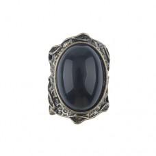 Vintage Black Onyx Bronze Ring Jewelry