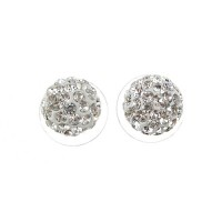 Ball Style Rhinestone Decor Earrings Jewelry