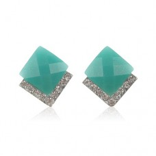 Rhombus Style Rhinestone Decor Earring Jewelry