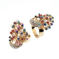 Colorful Rhinestone Peacock Style Ring Jewelry