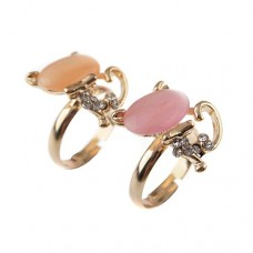 Cute Cat Style Rhinestone Decor Ring Jewelry