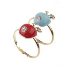 Elegant Apple Style Rhinestone Decor Ring Jewelry