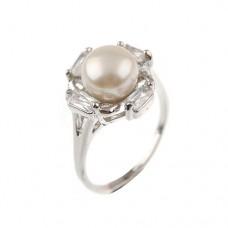 Elegant Pearl Rhinestone Decor Ring Jewelry