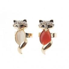Adjustable Fox Style Rhinestone Decor Ring Jewelry