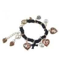 Hand-made Heart Pendant Pearl Decor Silk Ribbon Bracelet Jewelry