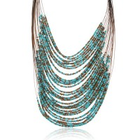 Multi-layer Rice Pearls Earrings Necklace Jewelry Set