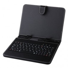 Black Leather Stand Case Micro USB Keyboard for 8.0 Inch Tablet PC