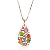 Water-drop Style Rhinestone Decor Necklace Jewelry