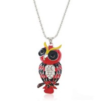 Owl Pendant Rhinestone Decor Necklace Jewelry