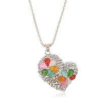Heart Pendant Colorful Rhinestone Decor Necklace Jewelry
