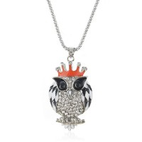 Owl with Crown Pendant Rhinestone Decor Necklace Jewelry
