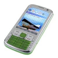 N100 TV Phone Dual Band Dual SIM Card Dual Camera Bluetooth FM 3.2 Inch Touch Screen- Green