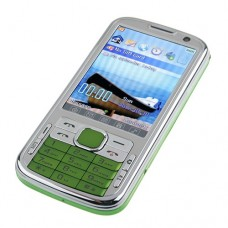 N100 TV Phone Dual Band Dual SIM Card Dual Camera Bluetooth FM 3.2 Inch Touch Screen- Green
