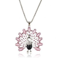 Fashion Peacock Pendant Rhinestone Decor Necklace Jewelry