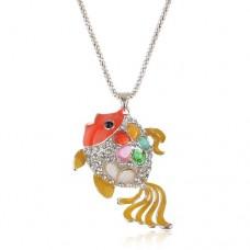 Fashion Carassius Auratis Pendant Rhinestone Decor Necklace Jewelry