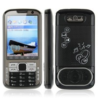 N100 TV Phone Dual Band Dual SIM Card Dual Camera Bluetooth FM 3.2 Inch Touch Screen- Black