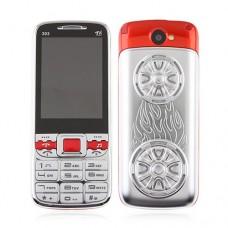 303 TV Phone Dual Band Dual SIM Card Bluetooth FM 2.6 Inch- Silver & Red
