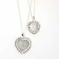 Fashion Rhinestone Decor Dual Hearts Necklace Silver
