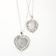 Fashion Rhinestone Decor Dual Hearts Necklace Silver