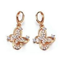 Fashion Rhinestone Decor 18K Gold Plate Butterfly Earring