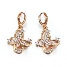 Fashion Rhinestone Decor 18K Gold Plate Butterfly Earring