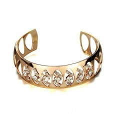 Fashion Rhinestone Decor 18K Gold Plate Bracelet Bangle