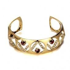 Fashion Rhinestone Decor 18K Gold Plate Bracelet Bangle